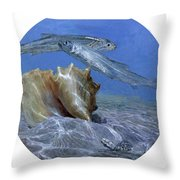 Conch And Ladyfish, 2001 Pair Throw Pillow