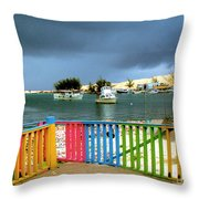 Conch Boats Arriving Throw Pillow
