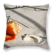 Conch With Shell In Sand I Throw Pillow