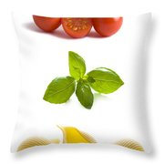 Conchiglioni Pasta Shells Tomatoes And Basil Leaves  Throw Pillow