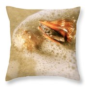 Conchs In Surf 1 Antique Throw Pillow