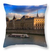 Conciergerie And The Seine River Paris Throw Pillow