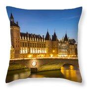 Conciergerie Twilight - River Seine Throw Pillow