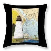 Concord Pt Lighthouse Md Nautical Chart Map Art Cathy Peek Throw Pillow