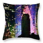 Concrete Canyons Of Manhattan At Night  Throw Pillow