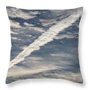 Condensation Trails - Contrails - Airplane Throw Pillow