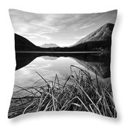 Cone Shaped Mountain Reflected In Lake At Sunset Throw Pillow