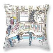 Coney Island Carousel Throw Pillow