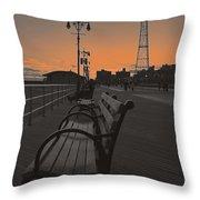 Coney Island Evening Throw Pillow