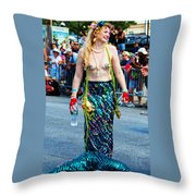 Coney Island Mermaid Throw Pillow