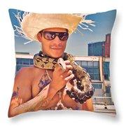 Coney Island Snake Man Throw Pillow