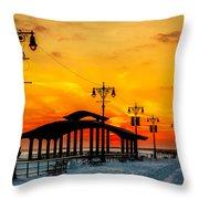 Coney Island Winter Sunset Throw Pillow