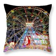 Coney Island's Famous Amusement Park And Wonder Wheel Throw Pillow