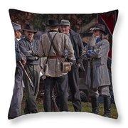 Confederate Civil War Reenactors With Rebel Confederate Flag Throw Pillow