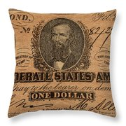 Confederate Dollar Bill Throw Pillow