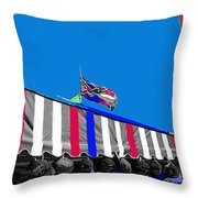 Confederate Flag Us Flag Line Of Hats Tucson Arizona Color Added Throw Pillow