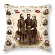 Confederate Generals And Flags Throw Pillow