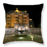 Confederation Fountain In Victoria Bc With Code Of Arms Throw Pillow
