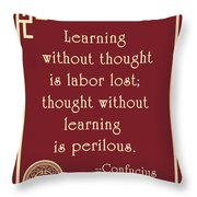 Confucius On Critical Thinking Throw Pillow