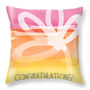 Congratulations- Greeting Card Throw Pillow by Linda Woods