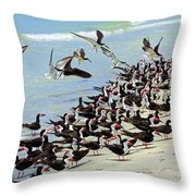Congregating Skimmers Throw Pillow