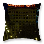 Congress Hotel In Chicago Throw Pillow