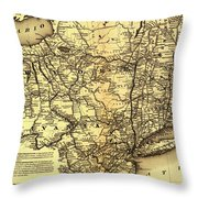 Connecticut And Western Railroad Map 1871 Throw Pillow