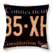 Connecticut License Plate Throw Pillow