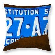 Connecticut State License Plate Map Throw Pillow