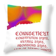 Connecticut State Map Collection 2 Throw Pillow