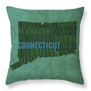Connecticut Word Art State Map On Canvas Throw Pillow by Design Turnpike
