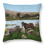 Connemara Ponies Throw Pillow