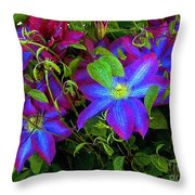Constance's Clematis Throw Pillow