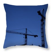 Construction Cranes At Dusk Throw Pillow