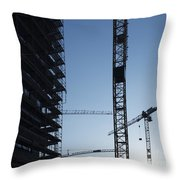 Construction Cranes In Backlit Throw Pillow