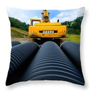 Construction Excavator Throw Pillow by Amy Cicconi