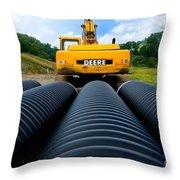 Construction Excavator Throw Pillow