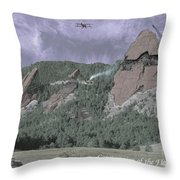 Construction Of The Flatirons - 1931 Throw Pillow