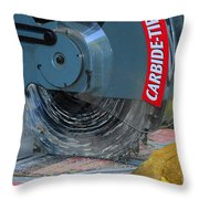 Construction The Chop Saw Throw Pillow by Paul Ward