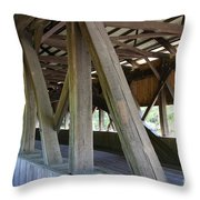 Construction Under The Roof - Jackson Covered Bridge Nh Throw Pillow