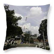 Construction Work Ongoing In Singapore Throw Pillow