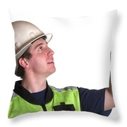 Construction Worker In Safety Jacket Throw Pillow