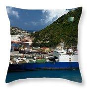 Container Ship St Maarten Throw Pillow