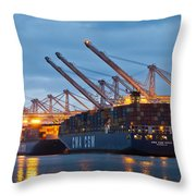 Container Ships Docked In Port Of Oakland Throw Pillow