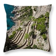 Contemplating Mediterranean Vacations - Via Krupp Capri Island Italy Throw Pillow