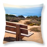 Contemplation Bench At The Oceans Edge Throw Pillow