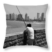Contemplative Fisherman In Tel Aviv Throw Pillow