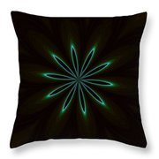 Contemporary Teal Floral On Black Throw Pillow