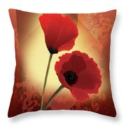 Contemporary Wild Poppies Throw Pillow