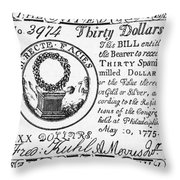 Continental Banknote, 1775 Throw Pillow